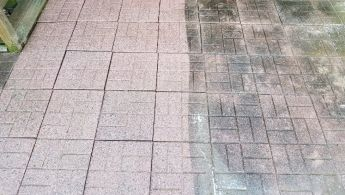 Paver driveway during pressure washing services